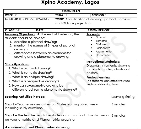 scheme of work, technical drawing, xpinoscholars, xpino, precious ikpoza, education, nigeria, science